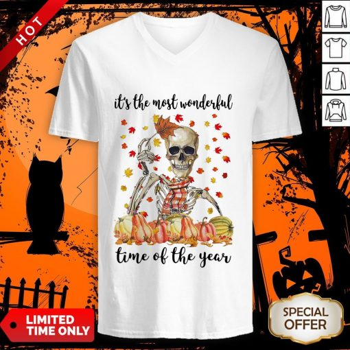 Halloween Skeleton It's The Most Wonderful The Year Maples Leaves V-neckHalloween Skeleton It's The Most Wonderful The Year Maples Leaves V-neck