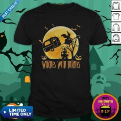 Happy Halloween Camping Witches With Hitches Moon ShirtHappy Halloween Camping Witches With Hitches Moon Shirt