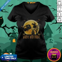 Happy Halloween Camping Witches With Hitches Moon V-neckHappy Halloween Camping Witches With Hitches Moon V-neck