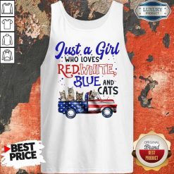 Just A Girl Who Loves Red White Blue And Cats American Flag Tank Top