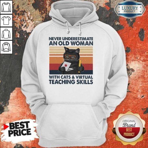 Never Underestimate An Old Woman With Cats Vintage Retro Hoodie