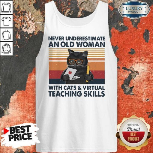 Never Underestimate An Old Woman With Cats Vintage Retro Tank Top