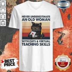 Never Underestimate An Old Woman With Cats Vintage Retro V-neck
