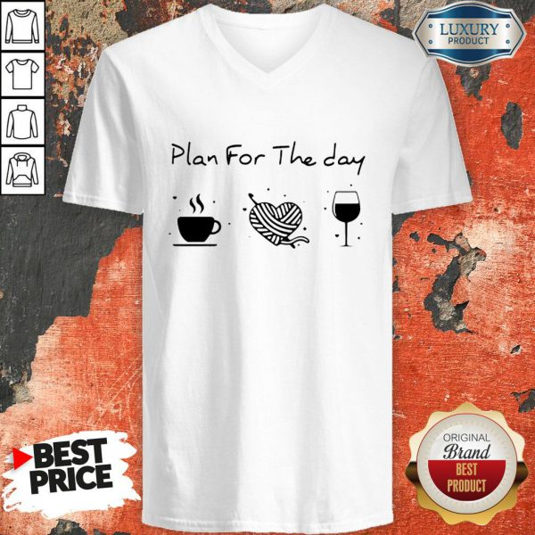 Plan For The Day Coffee Heart Knitting Wine V-neckPlan For The Day Coffee Heart Knitting Wine V-neck