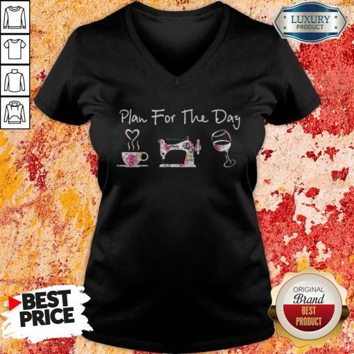 Plan For The Day Coffee Quilt Sew Wine Flowers V-neckPlan For The Day Coffee Quilt Sew Wine Flowers V-neck