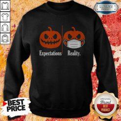 Pumpkin Expectations Pumpkin Face Mask Reality Sweatshirt