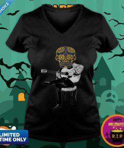 Sugar Skull Guitar Player Dia De Los Muertos Day Dead V-neck