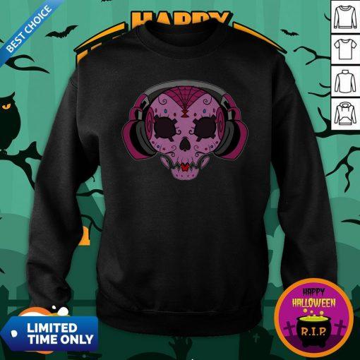 Sugar Skull Pink Music Day Of The Dead Sweatshirt