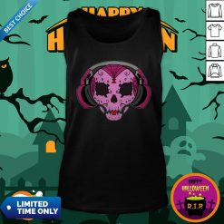 Sugar Skull Pink Music Day Of The Dead Tank Top