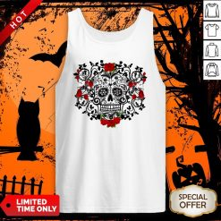 The Mexican Black Sugar Skull And Roses Day Of The Dead Muertos Tank Top