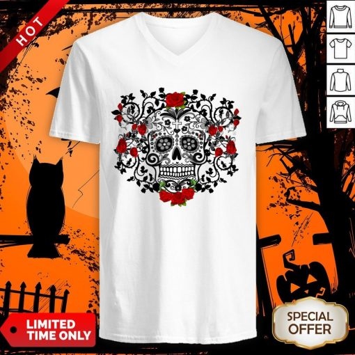 The Mexican Black Sugar Skull And Roses Day Of The Dead Muertos V-neck