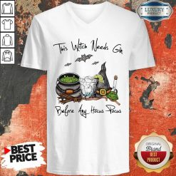 This Witch Needs Coffee Before Any Hocus Pocus Bats Halloween V-neck