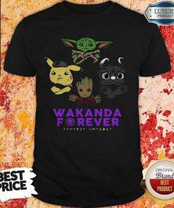 Wakanda Forever Baby Yoda Pokemon Toothless Shirt