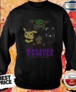 Wakanda Forever Baby Yoda Pokemon Toothless SweatshirtWakanda Forever Baby Yoda Pokemon Toothless Sweatshirt