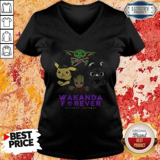 Wakanda Forever Baby Yoda Pokemon Toothless V-neck