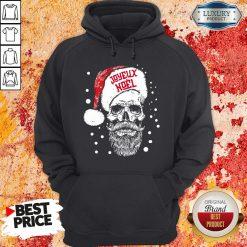 Funny Santa Skull Joyeux Noel Hoodie-Design By Soyatees.com