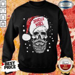 Funny Santa Skull Joyeux Noel Sweatshirt-Design By Soyatees.com