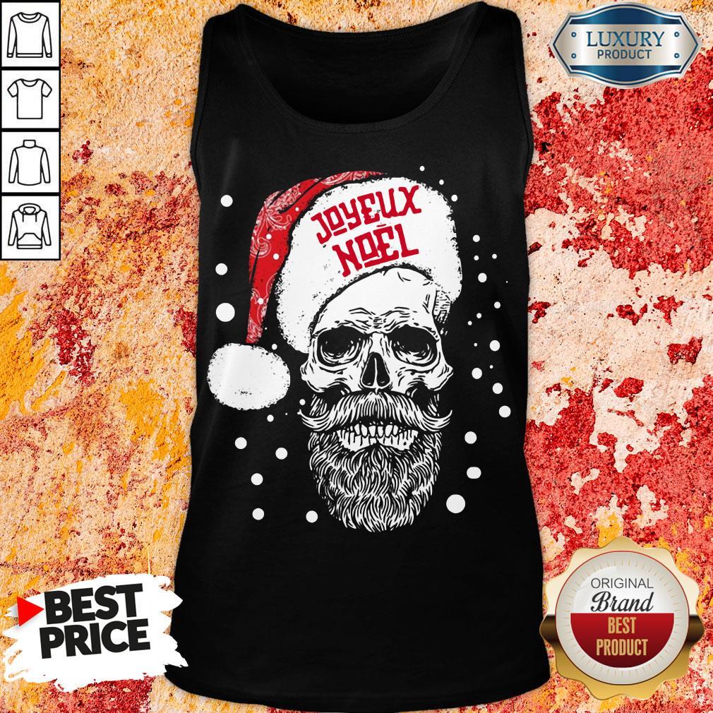 Funny Santa Skull Joyeux Noel Tank Top-Design By Soyatees.com