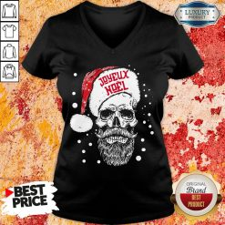 Funny Santa Skull Joyeux Noel V-neck-Design By Soyatees.com