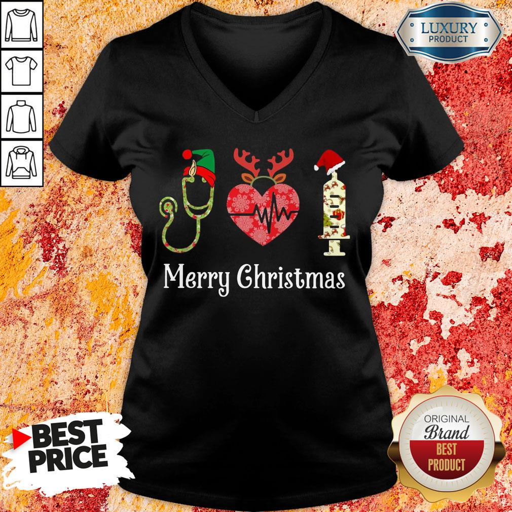 Happy Medical Instruments Merry Christmas V-neck-Design By Soyatees.com