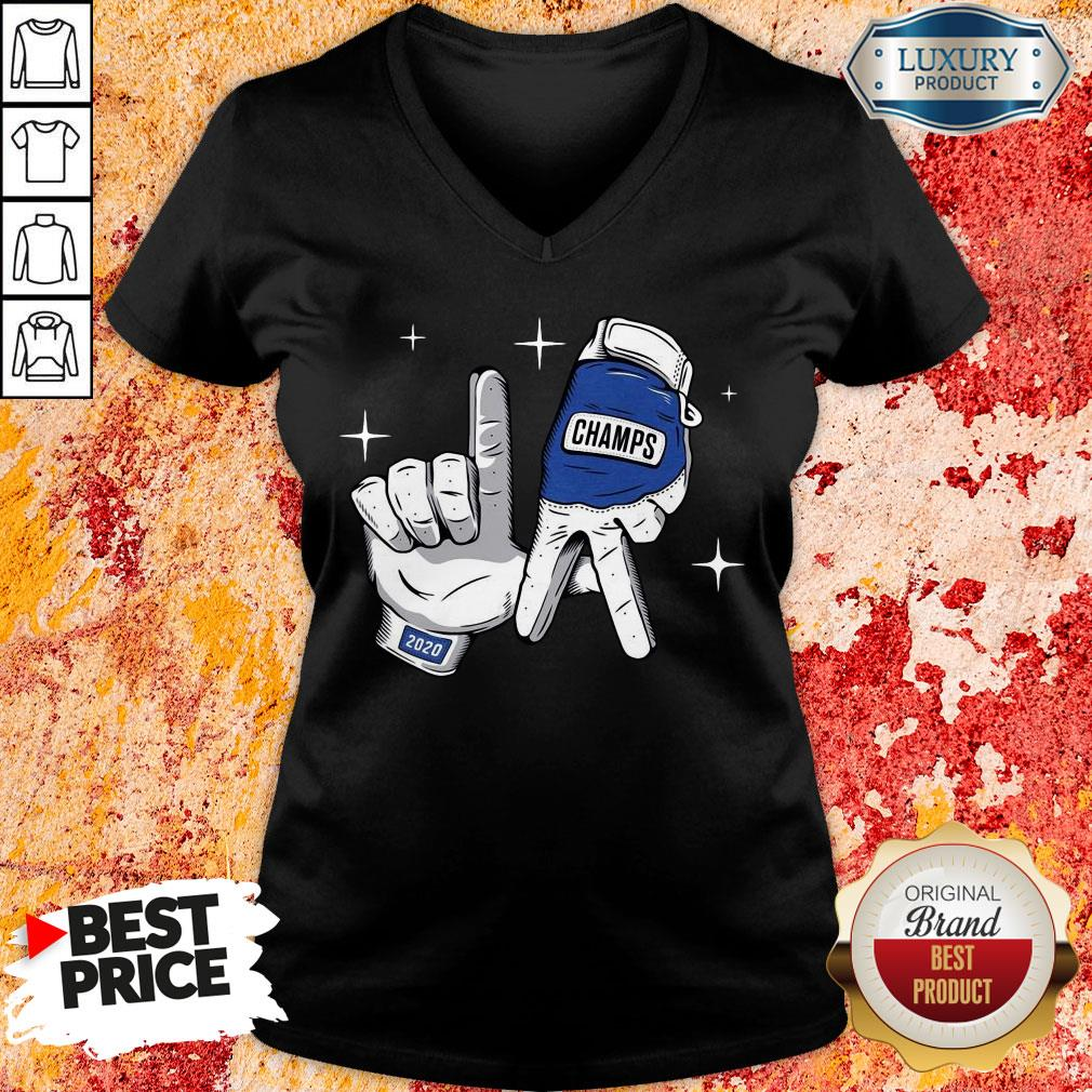 Nice Los Angeles Dodgers Safety Glove Champs V-neck-Design By Soyatees.com