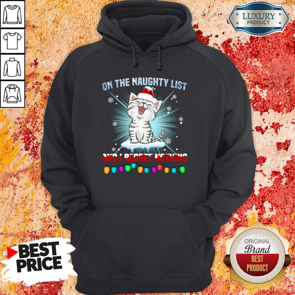 Funny Cat Santa On The Naughty List And I Regret Nothing Hoodie-Design By Soyatees.com