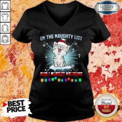 Funny Cat Santa On The Naughty List And I Regret Nothing V-neck-Design By Soyatees.com