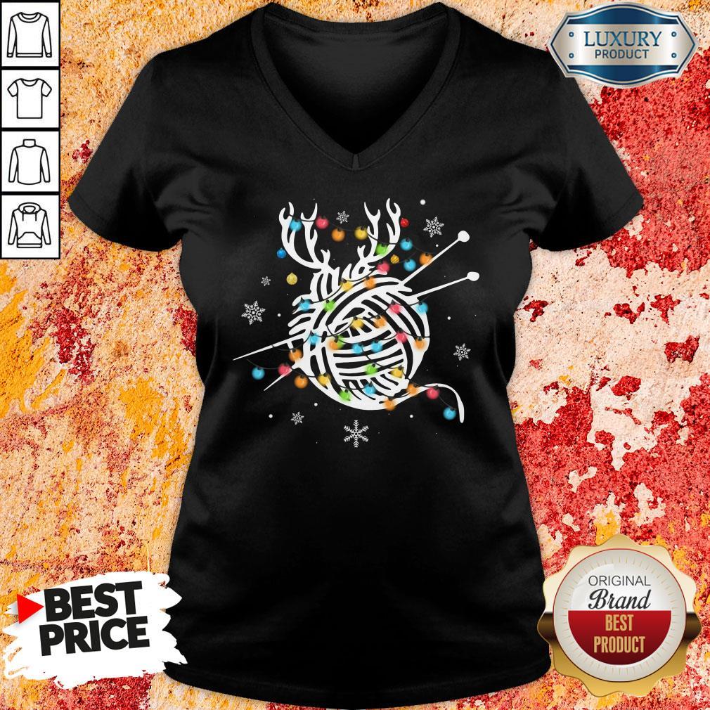 Hot Crochet And Knitting Lighting Yarn Christmas V-neck-Design By Soyatees.com