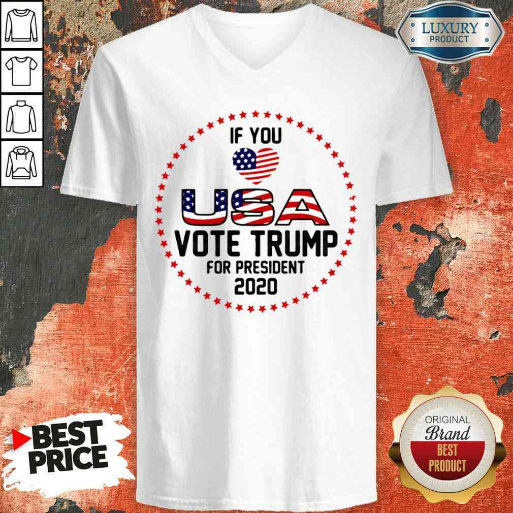 Awesome American Flag Trump If You Love USA Vote For Trump For President 2022 V-neck-Design By Soyatees.com