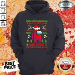 Awesome Among Us Santa Seems Sus To Me Ugly Christmas Hoodie-Design By Soyatees.com