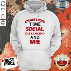Awesome Christmas Time Social Distancing And Wine Red Black Hoodie-Design By Soyatees.com
