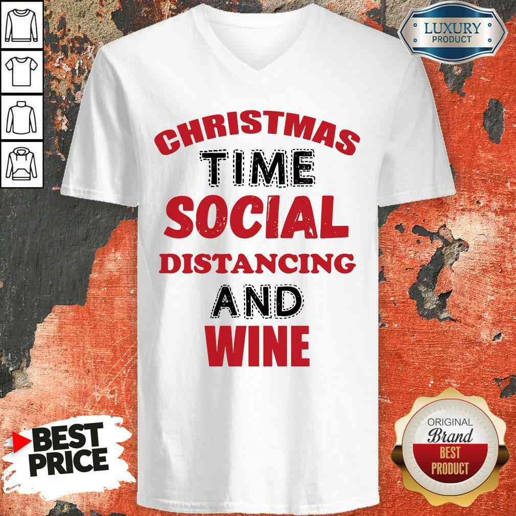 Awesome Christmas Time Social Distancing And Wine Red Black V-neck-Design By Soyatees.com