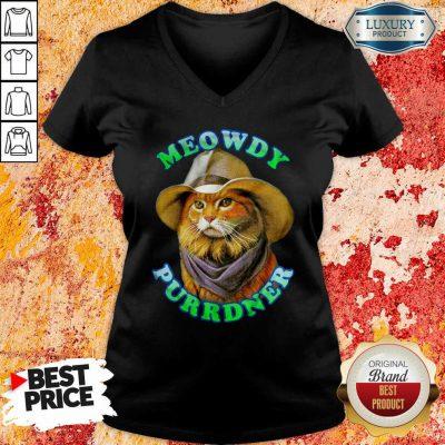 Meowdy Purrdner Cat Funny V-neck-Design By Soyatees.com