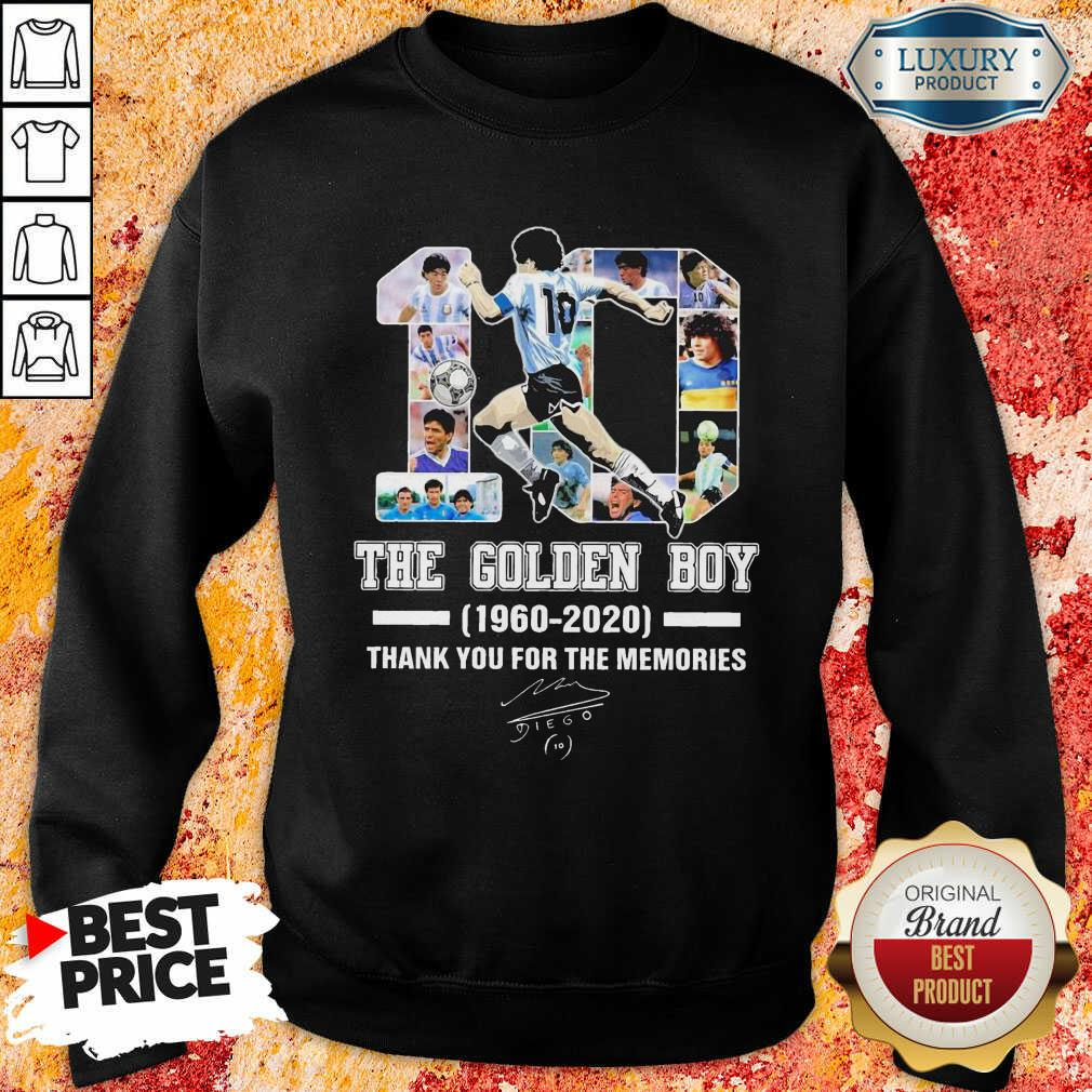 10 Diego Armando Maradona The Golden Boy 1960 – 2020 Signature Thanks Sweatshirt-Design By Soyatees.com
