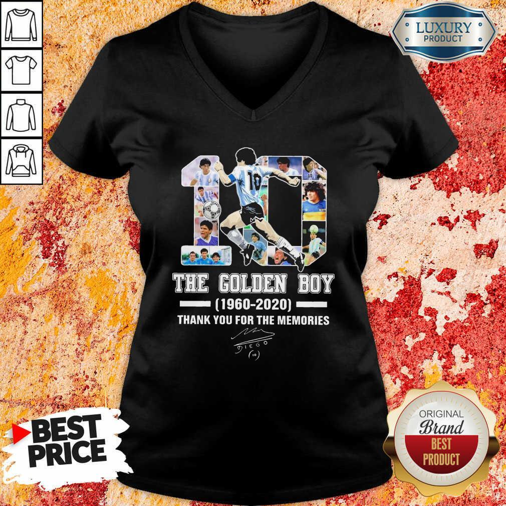 10 Diego Armando Maradona The Golden Boy 1960 – 2020 Signature Thanks V-neck-Design By Soyatees.com
