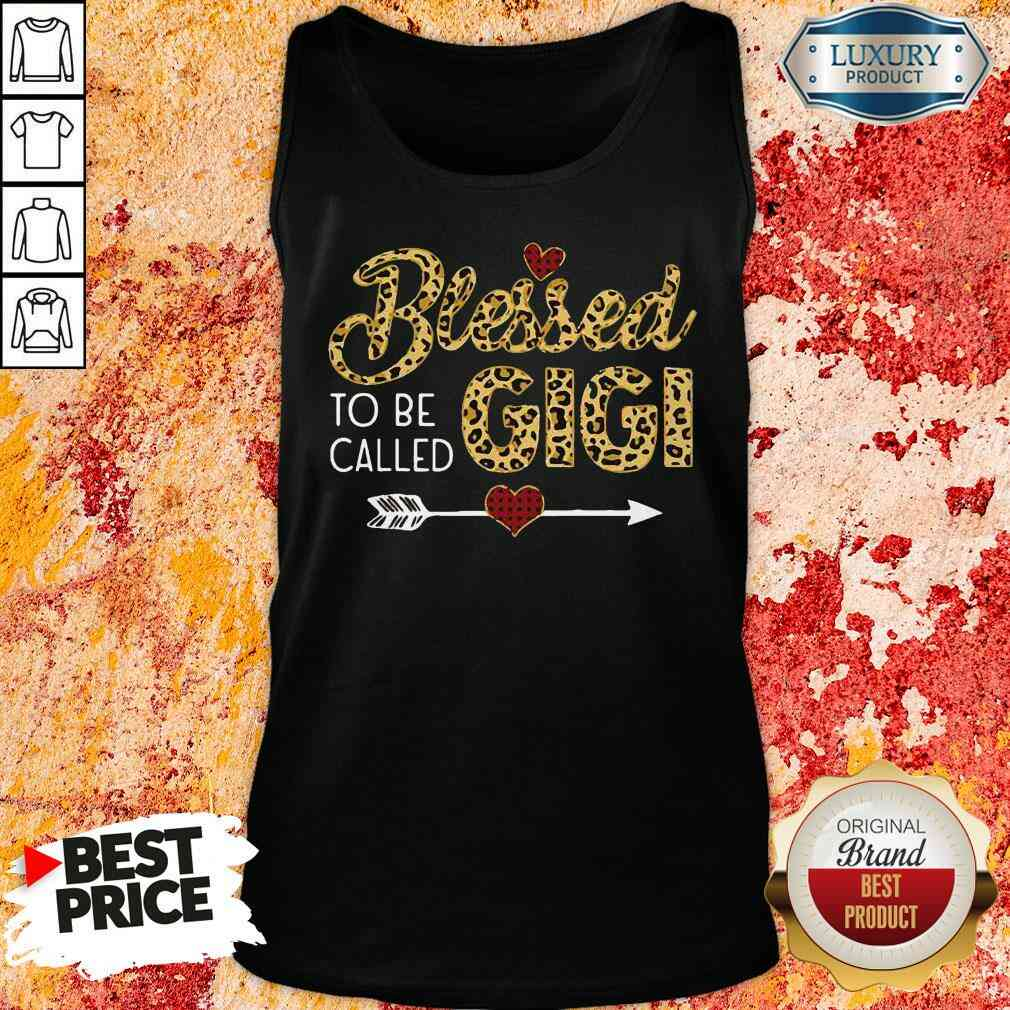 Funny Blessed To Be Called Gigi Leopart Red Plaid Buffalo Xmas Tank Top-Design By Soyatees.com