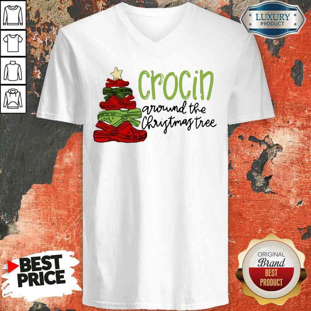 Funny Crocin Around The Christmas Tree V-neck-Design By Soyatees.com