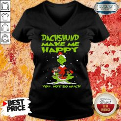 Grinch And Dachshund Make Me Happy You Not So Much Christmas V-neck-Design By Soyatees.com