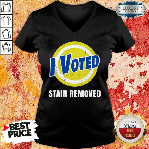 Funny I Voted Stain Removed V-neck-Design By Soyatees.com