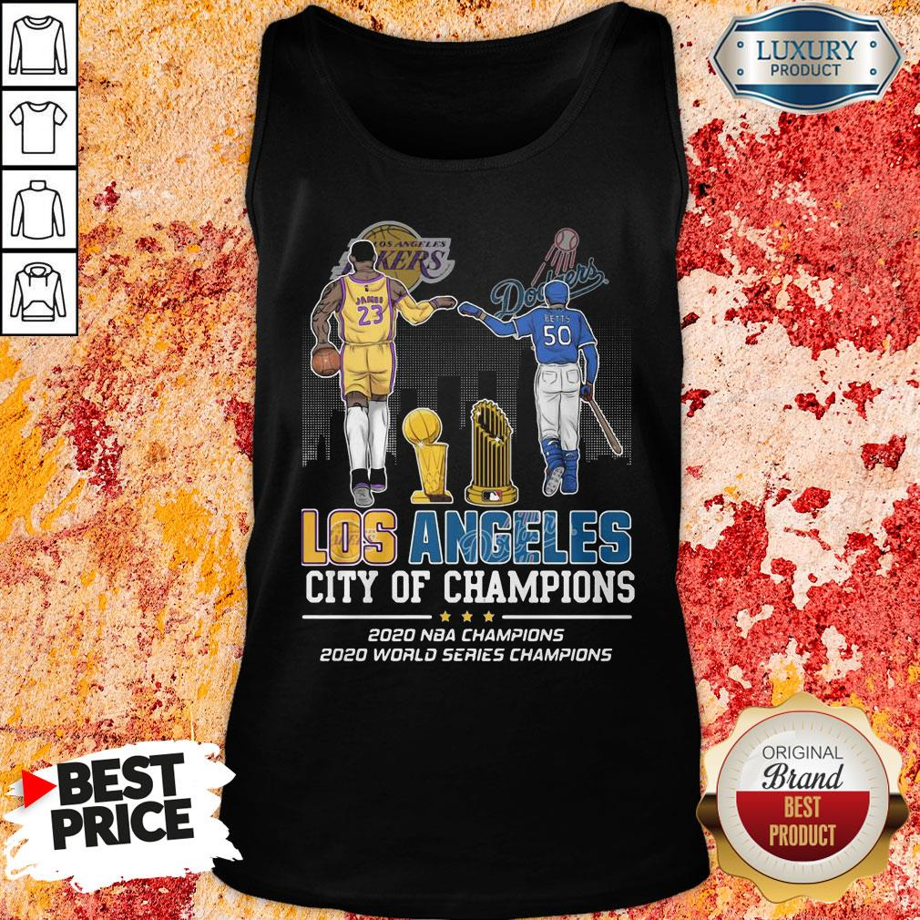 Funny Los Angeles Lakers And Dodgers City Of Champions 2020 NBA Champions 2020 World Series Champions Tank Top-Design By Soyatees.com