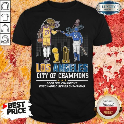 Funny Los Angeles Lakers And Dodgers City Of Champions 2020 NBA Champions 2020 World Series Champions Shirt-Design By Soyatees.com