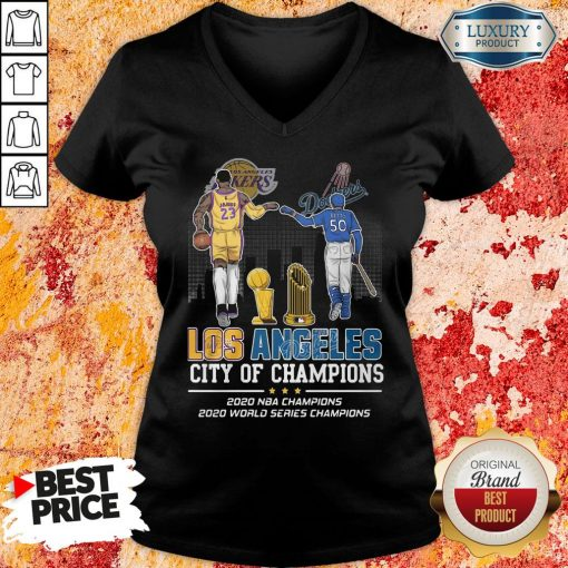 Funny Los Angeles Lakers And Dodgers City Of Champions 2020 NBA Champions 2020 World Series Champions V-neck -Design By Soyatees.com