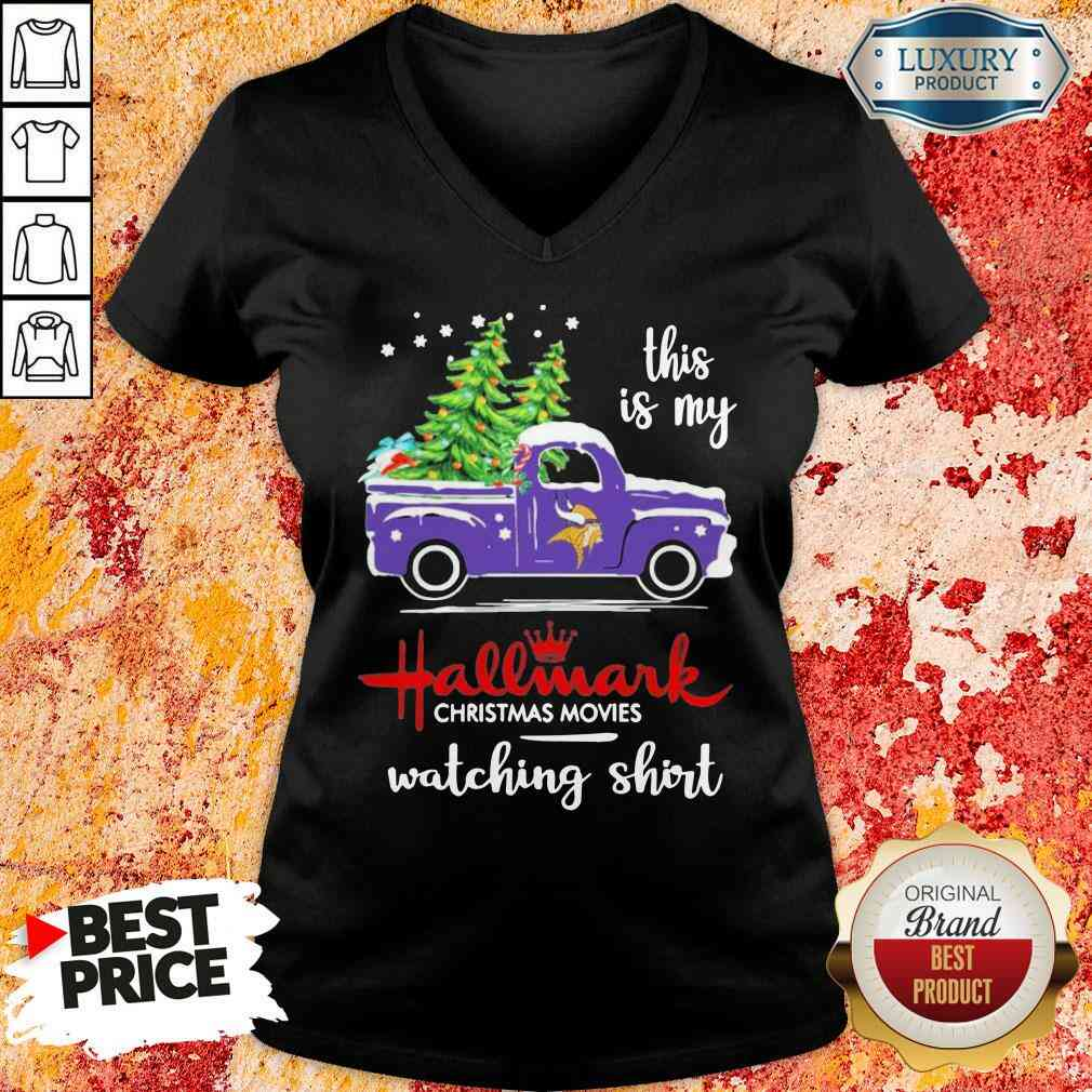 Funny Minnesota Vikings This Is My Hallmark Christmas Movies Watching V-neck-Design By Soyatees.com