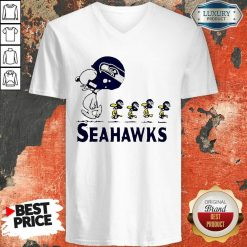 Snoopy And Woodstock Player Of Seattle Seahawks V-neck-Design By Soyatees.com