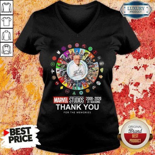 Funny Stan Lee Marvel Studios 2008 2020 31 Seasons Thank You For The Memories V-neck-Design By Soyatees.com