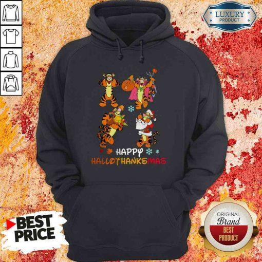 Funny Tiger Happy Hallothanksmas Hoodie-Design By Soyatees.com