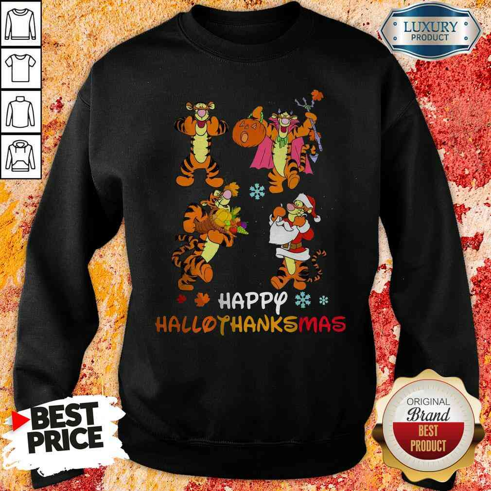 Funny Tiger Happy Hallothanksmas Sweatshirt-Design By Soyatees.com