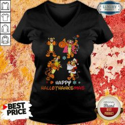 Funny Tiger Happy Hallothanksmas V-neck-Design By Soyatees.com