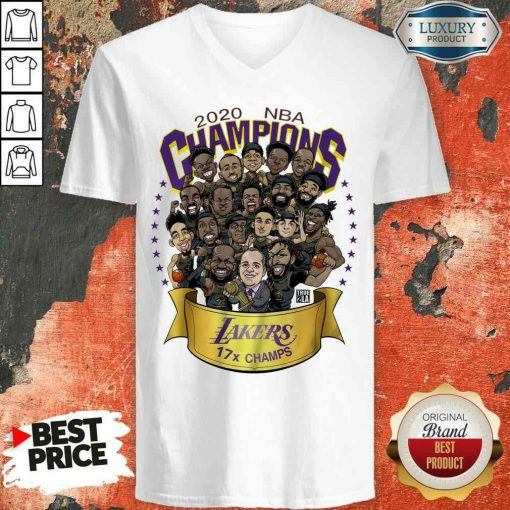 Good 2020 Nba Champions Los Angeles Lakers 17 Champs Cartoon V-neck-Design By Soyatees.com