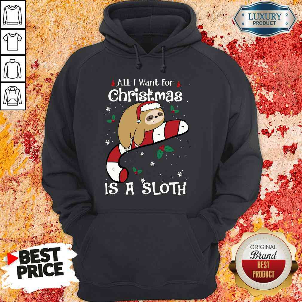 Good All I Want For Christmas Is Sloth Lovers Christmas Pajama Hoodie-Design By Soyatees.com
